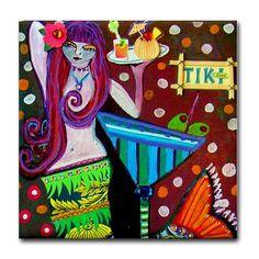 Mermaid Art  Kitchen Tile  Mermaid Tile by HeatherGallerArt, $20.00------Artsy merm!