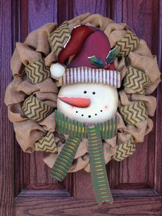 Wreaths tree toppers on pinterest spring wreaths mesh for Burlap snowman wreath