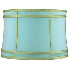Aqua and Green Colorblock Drum Lamp Shade 15x16x11 (Spider) - #2Y618 | LampsPlus.com