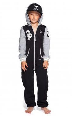 OnePiece Quarterback Kids Jumpsuit Black / Grey Melange