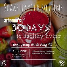 Are you ready for the challenge? 30 days to healthy living starts August 1st. Contact me for more info. #Arbonne #healthyliving #losangeles #healthyeating #cleanliving #healthylifestyle #healthysnacks