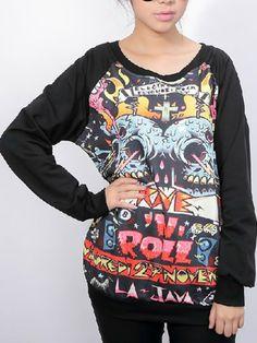 Hip Pop Skull Pattern Raglan Sleeves Sweatshirt - Fashion Clothing, Latest Street Fashion At Abaday.com
