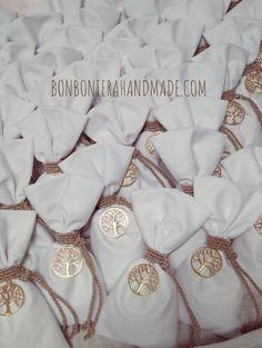 Μπομπονιέρα Γάμου Πουγκί Δέντρο Ζωής - Bonboniera Handmade