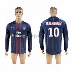 Billige Fotballdrakter Paris Saint Germain Psg 2016-17 Ibrahimovic 10 Hjemme Draktsett Langermet