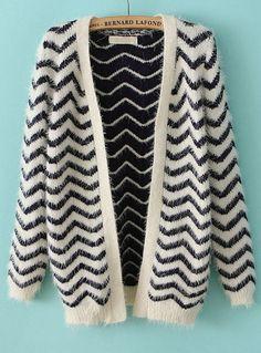 Navy Long Sleeve Zigzag Striped Cardigan 0.00