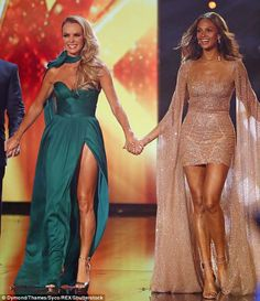 Amanda Holden, and Alesha Dixon went head to head during Thursday night's semi-final of Britain's Got Talent in a bid to flash the most leg with their racy gowns Amanda Holden, Alisha Dixon, Spandex Girls, Britain's Got Talent, Micro Skirt, Low Cut Dresses, Plunge Dress, Lovely Legs, Cool Outfits