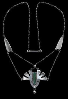This is not contemporary - image from a gallery of vintage and/or antique objects. PATRIZ HUBER 1878-1902 Theodor Fahrner Jugendstil Pendant Silver Jade