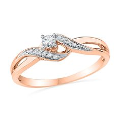 Diamond Bypass Split Shank Promise Ring in Rose Gold Pledge your love with this thoughtful and romantic diamond promise ring. Crafted in rose gold, this ring features a shimmering round diamond center stone surrounded by polished and Rose Gold Engagement Ring, Vintage Engagement Rings, Diamond Wedding Bands, Gold Bands, Wedding Rings, Wedding Stuff, Solitaire Engagement, Gold Wedding, Dream Wedding