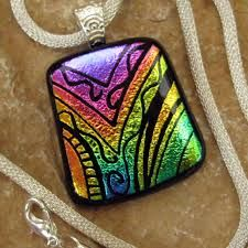 engraved dichroic glass pendant - Google Search