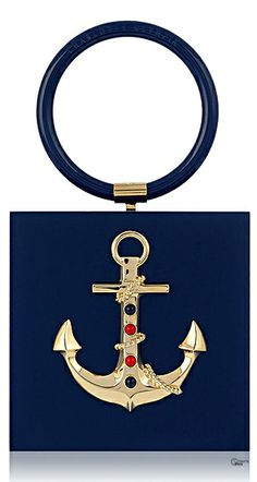 Emmy DE * Charlotte Olympia SS 2014 Cast Away with this striking hula handle clutch box with gold anchor detail.
