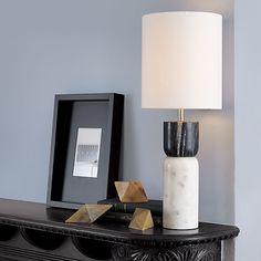 stacked marble table lamp in table lamps | CB2