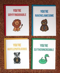 Harry Potter 4 card set - Gryffindor Ravenclaw Hufflepuff Slytherin ReneeRules Etsy: