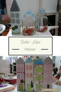 Deko-Idee: Bunte Häuser. Passen aufs Sideboard ebenso wie auf die Fensterbank – ein bunter Hingucker im Wohnzimmer, Esszimmer, Küche. Auch süß im Kinderzimmer.