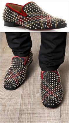 GARCON MENS STYLE FASHION BLOG Christian Louboutin Rollerboy spike TARTAN PRINT loafers SLIPPERS