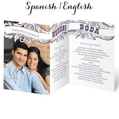 Hispanic Wedding Invitation I Bandera Antiguo I Verse In English And Spanish !