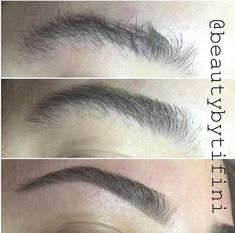 1.Before 2. Trim Only  3. After waxing and finishing with Kelley Baker brow products