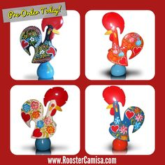 We are excited to announce that ceramic Roosters imported from Barcelos, Portugal are now available for pre-order on our website in 4 colors. Just in time for the Holidays!! Order Today! www.RoosterCamisa.com  Galo de Barcelos, Portuguese Rooster, Cock de Barcelos