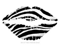 Zebra - Kissing Lips Fabric Wall Skin Decal measures 24x15 inches