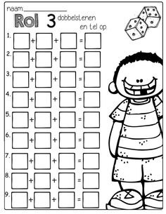 Roll 3 dice, add them up and write the sum. Makes learning addition a little more exciting! by Chick First Grade Math Worksheets, Second Grade Math, 1st Grade Math Games, Addition Worksheets, Alphabet Worksheets, Elementary Math, Kindergarten Math, 1st Grade Crafts, Waldorf Math