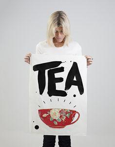 Tea tea towel--Love this whole website Tea Towels, Reusable Tote Bags, Design, Website, Type, Dish Towels, Kitchen Towels