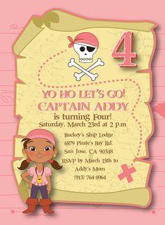 Customized Izzy Invitation - Jake and the Neverland Pirates - Photo Option available on Etsy, $6.99
