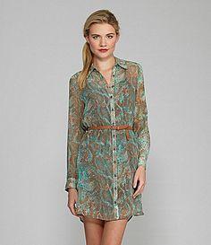 Kensie Textured SnakePrint Shirtdress #Dillards
