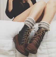boots, knitted socks