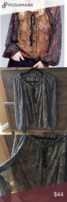 Free People Hendrix sheer poet blouse Work just a few times - great with black denim or leggings & boots ✨ olive & black with a little bit of red, generously sized. Free People Tops Blouses