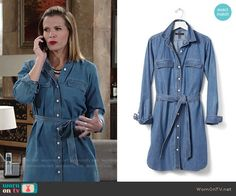 Chelsea's denim shirtdress on The Young and the Restless.  Outfit Details: https://wornontv.net/58539/ #TheYoungandtheRestless