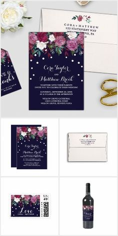Marsala, burgundy and navy floral wedding invitation suite featuring a pink, blush, red and beige bouquet of flowers with cascading white confetti on a dark blue background and an elegantly decorative font. This collection includes all of the essentials, and more! Invitations, envelopes, stamps, labels, belly bands, five RSVP options, enclosure cards, save the date, thank you cards, and paper for your ceremony and reception. The set is perfect for these themes; fancy romantic flower & red…
