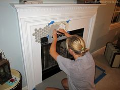 How to Stencil a Fireplace! East Coast Creative stenciled a fireplace with our Beehive Allover stencil and Annie Sloan Chalk Paint™. Click the link for the tutorial and the results! Fireplace Art, Fireplace Update, Fireplace Shelves, Shiplap Fireplace, Concrete Fireplace, Fireplace Remodel, Marble Fireplaces, Fireplace Surrounds, Fireplace Design