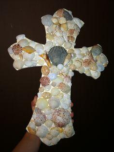 DIY sea shell cross. Sea shells from Panama City Beach.