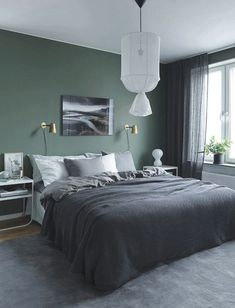 Moody Bedroom Green Walls - the Conspiracy - prekhome Grey Bedroom Design, Bedroom Green, Green Rooms, Bedroom Colors, Bedroom Designs, Green Walls, Bedroom Ideas, Modern Mens Bedroom, Modern Bedroom Decor