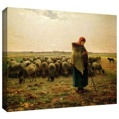 'Shepherdess with her Flock' by Jean Francois Millet Gallery-Wrapped on Canvas