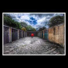 Garages. Red Umbrella.