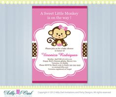 Pink Lime Green Girl Monkey Jungle Monkeys Baby Shower Printable DIY party invitation for girl in pink, brown, Monkey Invitations, Party Invitations, Shower Invitation, Baby Shower Niño, Girl Shower, Monkey Girl, Monkey Baby, Mod Monkey, Baby Shower Invitaciones