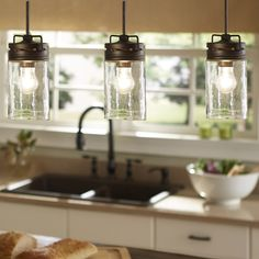 Shop allen + roth Vallymede 3.7-in W Aged BronzeMini Pendant Light with Clear Glass Shade at Lowes.com
