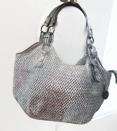 Vintage Women's Shoulder Bag Silver Color Tote With Many
