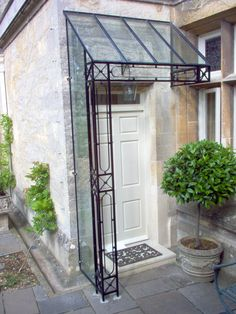 Porches and canopies can be supplied with lead, glass, tiles or z… Front Door Canopy, Porch Canopy, Front Door Entrance, Gate Design, Window Design, Glass Porch, Metal Awning, Front Porch Design, Canopy Design