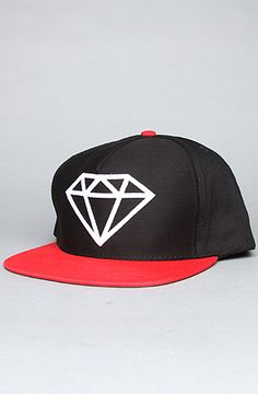 4606d0582ec Diamond Supply Co. The Rock Snapback Cap in Black   Red Snapback hat with  tonal stitching and eyelets  contrast brim and button top  two tone plastic  snap ...