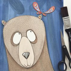 And here he is, with background and everything. 😊 #viktoriaastrom #bear #watercolor #picoftheday