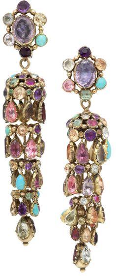 A pair of 19th century multi gem-set earrings.
