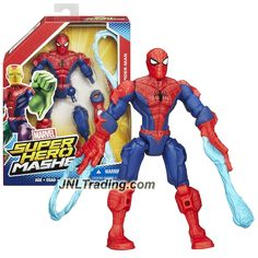 Hasbro Year 2015 Marvel Super Hero Mashers Series 6 Inch Tall Action Figure: SPIDER-MAN with Detachable Legs and Hands with 2 Web-Blast