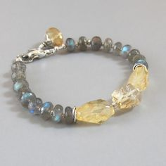 Labradorite Citrine Sterling Silver Bead Bracelet by DJStrang