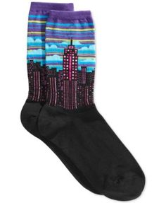 Hot Sox Cityscape Socks cotton/nylon/spandex/rubber purple sz9-11 3/15.00