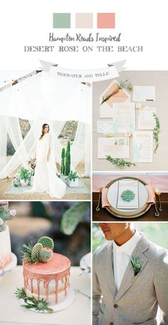 Rose gold and cactus green wedding inspiration for a beach wedding.