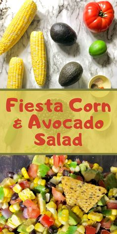 This Fiesta Corn and Avocado Salad is a vibrantly colored, healthy summer recipe that is perfect for picnics, potlucks, and parties!