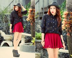 Pinkaholic Cross Buttondown Top, Vaintage Skater Skirt, Jeffrey Campbell 99 Two