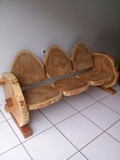 Look at this beautiful wood log bench or you may use it as a lounger. The beauty of the grains in a wooden log makes it attractive. However, it might not be possible to sit for long on this wooden log Rustic Log Furniture, Wood Furniture, Furniture Ideas, Rustic Bench, Cheap Furniture, Outdoor Furniture, Furniture Stores, Modern Furniture, Farmhouse Bench