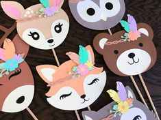 Large Woodland Animal Centerpieces. Such cute animals for birthdays, baby showers and bridal showers. Made out of 80lb Card stock Each one measures around 4 inches tall (not including dowel sticks) Attached to 12inch dowel sticks (Available without) Below in the drop down menu please select your